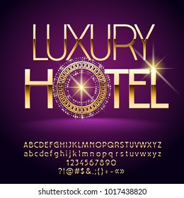Vector Golden Alphabet with Chic Decorative Emblem. Luxury Hotel logo. Set of exclusive Letters, Numbers and Symbols