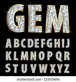 vector golden alphabet with diamonds