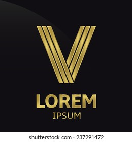 Vector golden alphabet. Letter V, symbol for your company