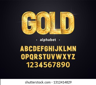 Vector golden alphabet. Set of gold letters and numbers isolated design elements. Collection of shiny luxury font