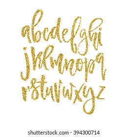 Vector golden alphabet. Unique brushed font with golden glitter.