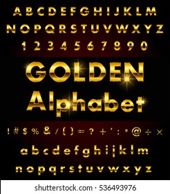 Vector golden alphabet.Gold letters design.