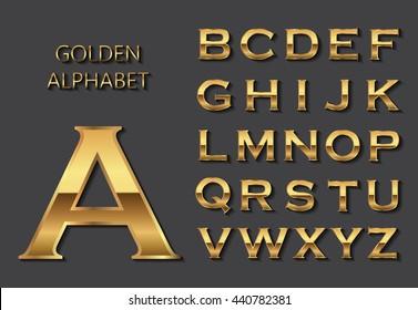 Vector golden alphabet.Golden letters design.