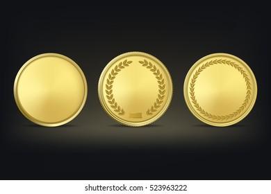 Vector golden award medals set on black background.