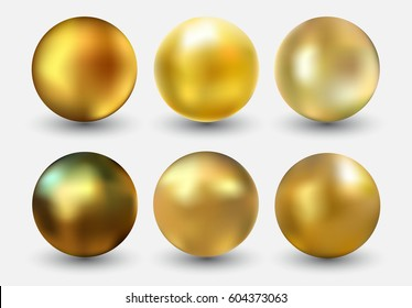 Vector golden ball.Realistic gold sphere.