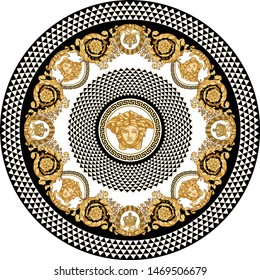 Vector Golden Baroque Fashionable mandala in vintage style with medusa head, black-white triangle checkered background. Pattern for textile, scarves, design and backgrounds.