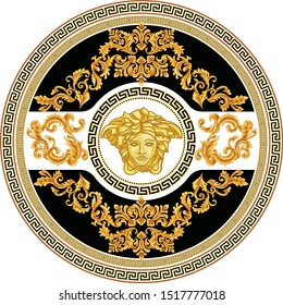 Vector Golden Baroque Fashionable mandala in vintage style with medusa head. Pattern for textile, design and backgrounds.