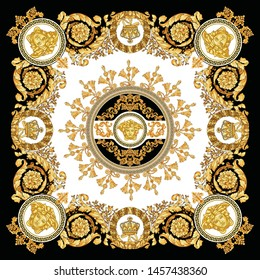 Vector Golden Baroque Fashionable pattern in ancient vintage style with greek keyed border, medusa, tassel, black-white background. Pattern for textile, scarves, design and backgrounds.