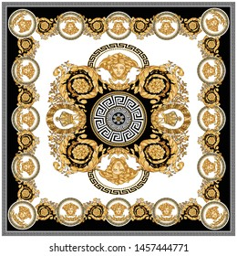 Vector Golden Baroque Fashionable pattern in ancient vintage style with greek keyed border, medusa, black-white background. Pattern for textile, scarves, design and backgrounds.