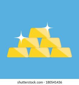 Vector Golden Bars Pyramid Icon