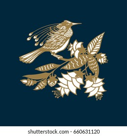 Vector golden bird on a dark blue background