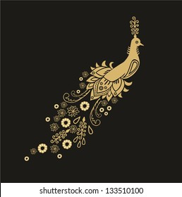 Vector golden bird - peacock, Peafowl, Pavo with floral tail on dark background