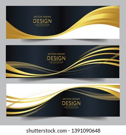 Vector golden and black abstract swoosh background. Abstract corporate business banner web template, horizontal advertising business banner layout template flat design set.