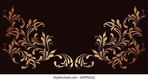 Vector golden border in eastern style. Floral element for design. Ornamental corner pattern.
