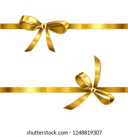 Vector Golden Bow with Ribbon isolated on white background