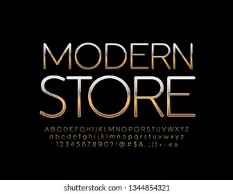 Vector Golden bright Font with emblem Modern Store. Luxury Alphabet Letters set.