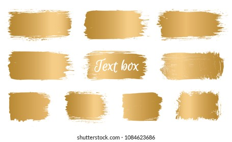 Vector golden brush stroke, banner, paint brush, line or texture. Dirty artistic design element, box, frame or background for text and information.