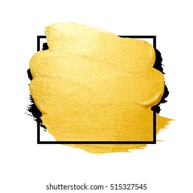 Vector golden brush stroke for you amazing design project. Watercolor texture paint stain isolated on white. Abstract hand painted golden background for greeting, gift, wedding, birthday card.