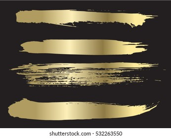 Vector golden brushes collection.