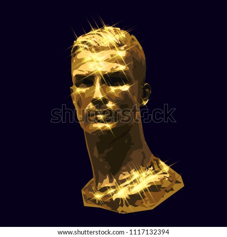 vector golden bust handsome