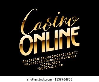 Vector Golden Casino Online banner. Elite chic Font. Luxury elegant Alphabet Letters, Numbers and Symbols