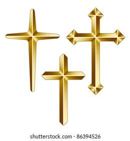vector golden christian crosses