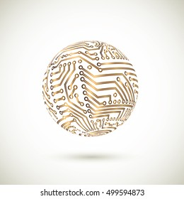 Vector golden circuit board globe. Information technology logo. Global network concept.