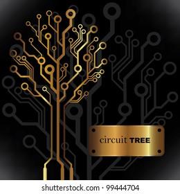 Vector golden circuit tree background