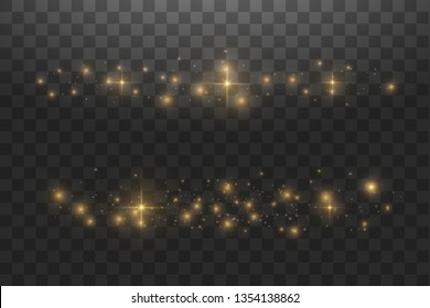 Vector golden cloud glitter wave abstract illustration. White star dust trail sparkling particles isolated on transparent background. Magic concept