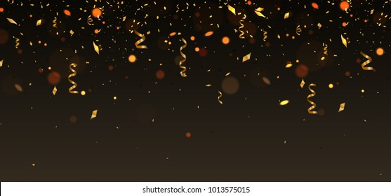 Vector golden cofetti falling on brown background