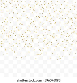 Vector Golden Confetti Falling On Transparent Background
