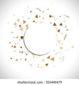 Vector golden confetti. Falling tinsel and confetti background from minimalistic geometrical confetti and ribbons. Flat falling glitter.