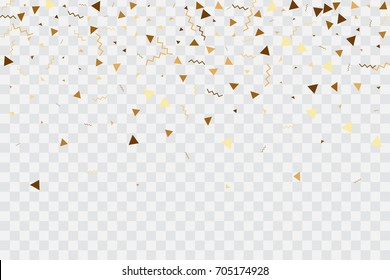 Vector golden confetti on transparent background. Falling tinsel and confetti from minimalistic geometrical confetti and ribbons. Flat falling glitter. Abstract triangles and ribbons on label.