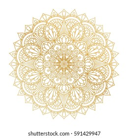Vector golden contour Mandala ornament. Vintage decorative elements. Oriental round pattern. Islam, Arabic, Indian, turkish, pakistan, chinese, ottoman motifs. Hand drawn floral background.