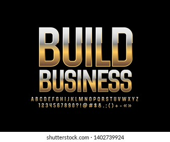 Vector Golden design Build Business with great Font. Chic reflective Alphabet Letters, Numbers and Symbols
