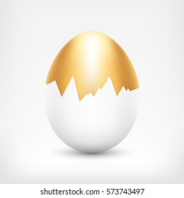 Vector golden egg in cracked white shell