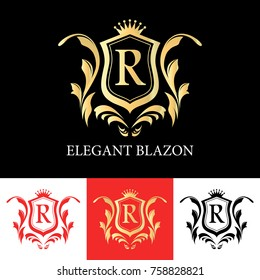 Vector Golden Elegant Blazon Like Shield with Letter 'R' and Crown on Black, White and Red background.