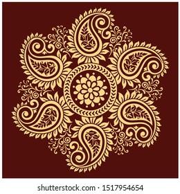 Vector Golden element, Vector frames for design template.Element in eastern and Indian style. Golden vector floral borders. Indian wedding card design. Golden decor.Vintage frames.Lazier cut design