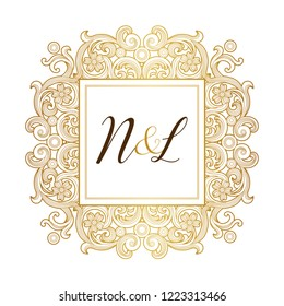 Vector golden element, monogram identity for design template. Luxury ornament in Victorian style. Premium floral illustration. Ornate decor, frame for invitation, card, logo design, label, badge, tag.