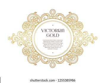 Vector golden element, round frame for design template. Luxury ornament in Victorian style. Premium floral illustration. Ornate decor, border for invitation, card, logo design, label, badge, tag.