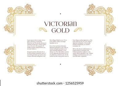 Vector golden elements, decoration for design template. Luxury ornament in Victorian style. Premium floral illustration. Ornate decor, frame for invitation, card, certificate, label, badge, tag.