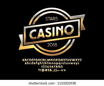 Vector Golden Emblem Casino with Luxury Font.