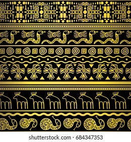 Vector golden floral and animals textile african fashion print design