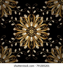 Vector golden floral ornament brocade textile and glass pattern. Gold metal with floral pattern. Seamless golden pattern. Black colors with golden elements.