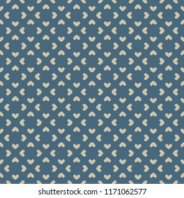 Vector golden floral seamless pattern. Blue and gold minimalist ornament. Luxury geometric background with flower shapes, crosses, repeat tiles. Elegant abstract texture. Design for decor, wallpapers
