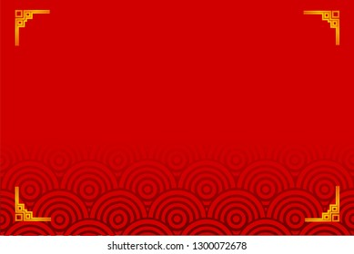 vector golden frame for certificate, placard, backdrop, and chinese new year moment, red gradual background