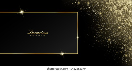 vector golden frame with confetti glitter and shiny sparkle effect. black background for new year black friday Christmas banner, cover, greeting card and decoration celebration.
