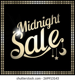 vector golden frame with font midnight sale