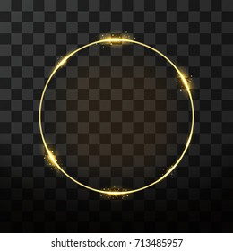 Vector golden frame with glow effect. Neon circle frame, golden ring and glitter effect on transparent background. Vector