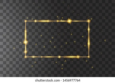 Vector golden frame with lights effects. Shining rectangle banner. Isolated on black transparent background. Vector illustration